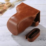 Full Body Camera PU Leather Case Bag with Strap for Canon EOS M6 (18-150mm Lens) (Brown)
