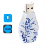 Flowers Blue and White Porcelain Pattern Portable Audio Voice Recorder USB Drive, 16GB, Support Music Playback