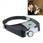 Headband Style 1.5X / 3X / 8.5X / 10X Magnifier with 2 LED Lights(Grey)