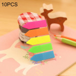 10 PCS Arrow Type Creative Fluorescence Classification Indexes Paste Sticks PET Bookmarks Sticky Note Stationeries