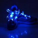 1 Pair LED Fluorescent Flat Shoelaces with Button, Length: about 113cm(Dark Blue)