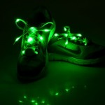1 Pair LED Fluorescent Flat Shoelaces with Button, Length: about 113cm(Green)