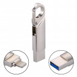 RQW-10F 2 in 1 USB 2.0 & 8 Pin 16GB Keychain Flash Drive, for iPhone & iPad & iPod & Most Android Smartphones & PC Computer