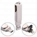 RQW-10X 3 in 1 USB 2.0 & 8 Pin & USB-C / Type-C 16GB Flash Drive, for iPhone & iPad & iPod & Most Android Smartphones & PC Compu
