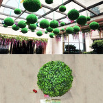 Artificial Aglaia Odorata Plant Ball Topiary Wedding Event Home Outdoor Decoration Hanging Ornament, Diameter: 8.7 inch