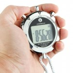 PS528 Metal Stopwatch Professional Chronograph Handheld Digital LCD Sports Counter Timer with Strap