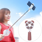 Portable Lovely Style Mini USB Charging Handheld Small Fan with Selfie Stick (Brown)