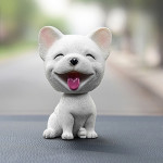 High-grade Shaking Head Dog Car Ornaments Resins Lovely French Bulldog Cartoon Dog New Year Gifts with Double-sided Adhesive Tap