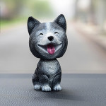 High-grade Shaking Head Dog Car Ornaments Resins Lovely Husky Dog Cartoon Dog New Year Gifts with Double-sided Adhesive Tape