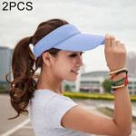 2 PCS Lightweight and Comfortable Visor Cap for Women in Outdoor Golf Tennis Running Jogging Adjustable Strap (Blue)