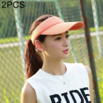 2 PCS Lightweight and Comfortable Visor Cap for Women in Outdoor Golf Tennis Running Jogging Adjustable Strap (Orange)