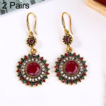 2 Pairs Ethnic Sun Flower Style Rhinestone Earrings Long Earbobs(Gold+Red)