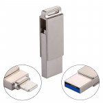 RQW-10 2 in 1 USB 2.0 & 8 Pin 16GB Flash Drive, For iPhone & iPad & iPod & Most Android Smartphones & PC Computer