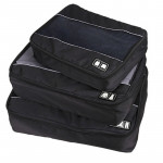 3 PCS / Sets Multi-function Football Texture 210D Polyester Waterproof Travel Clothes Underwear Storage Bag(Black)