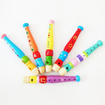 Kindergarten Children Early Education Teaching Aids Wooden Colorful Flute Musical Play Toys, Size: 20*2.5cm