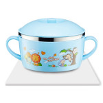 225ml Stainless Steel Thermal Insulated Cartoon Style Bowl With Cover And Handles For Child(Blue)