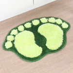 1390 Foot-shaped Non Slip Shaggy Soft Water Absorption Bedroom Bathroom Carpet Mat (Green)