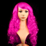 Colorful Wild-Curl Up Party Headwear Wavy Long PET Wigs For Female(Pink)