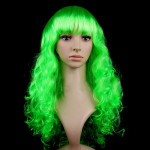 Colorful Wild-Curl Up Party Headwear Wavy Long PET Wigs For Female(Green)