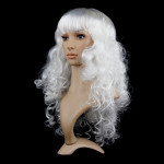 Colorful Wild-Curl Up Party Headwear Wavy Long PET Wigs For Female(White)