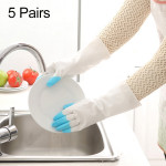 5 Pairs Sale Shark Housework Cleaning PVC Latex Gloves Waterproof Thicken Laundry Washing Gloves (Blue)