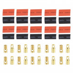 6mm Gold Bullet Connector with Heat Shrink Tubing for RC Battery (10 Pairs)