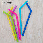 10 PCS Food Grade Silicone Straws Cartoon Colorful Drink Tools, Slim Bend Pipe, Length: 25cm, Outer Diameter: 7.8mm, Inner Diame