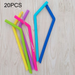 20 PCS Food Grade Silicone Straws Cartoon Colorful Drink Tools, Crude Bend Pipe, Length: 25cm, Outer Diameter: 7.8mm, Inner Diam