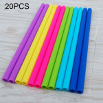 20 PCS Food Grade Silicone Straws Cartoon Colorful Drink Tools with 1 Brush, Straight Pipe, Length: 25cm, Outer Diameter: 11mm,