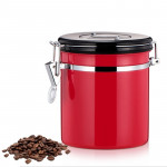 800ml Stainless Steel Sealed Food Coffee Grounds Bean Storage Container with Built-in CO2 Gas Vent Valve & Calendar (Red)