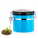 1200ml Stainless Steel Sealed Food Coffee Grounds Bean Storage Container with Built-in CO2 Gas Vent Valve & Calendar (Blue)
