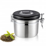 1200ml Stainless Steel Sealed Food Coffee Grounds Bean Storage Container with Built-in CO2 Gas Vent Valve & Calendar (Silver)