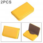 2 PCS Premium PU Leather Business Name Card Case with Magnetic Closure , Size: 10*6.5*1.7cm(Yellow)