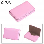 2 PCS Premium PU Leather Business Card Case with Magnetic Closure , Size: 10*6.5*1.7cm(Pink)