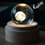 3D Word Engraving Crystal Ball Music Box Dandelion Pattern Electronic Swivel Musical Birthday Gift Home Decor with Music
