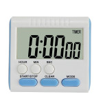 Kitchen Timer 24 Hours Digital Alarm Clock LCD Screen Magnetic Backing for Cooking Baking(Blue)