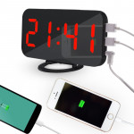 Multifunction Creative Mirror Reflective LED Display Alarm Clock with Snooze Function & 2 USB Charge Port(Red)