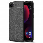 For HTC Desire 12 Litchi Texture Soft TPU Protective Back Cover Case (Black)