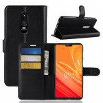 For OnePlus 6 Litchi Texture Horizontal Flip Leather Case with Holder & Card Slots & Wallet(Black)