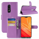 For OnePlus 6 Litchi Texture Horizontal Flip Leather Case with Holder & Card Slots & Wallet(Purple)