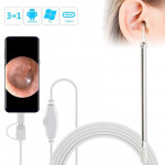 i95 3 in 1 USB Ear Scope Inspection HD 0.3MP Camera Visual Ear Spoon for OTG Android Phones & PC & MacBook, 1.75m Length Cable(W