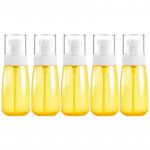 5 PCS Travel Plastic Bottles Leak Proof Portable Travel Accessories Small Bottles Containers, 60ml(Yellow)