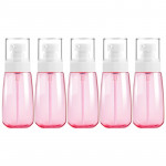 5 PCS Travel Plastic Bottles Leak Proof Portable Travel Accessories Small Bottles Containers, 60ml(Pink)