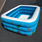 Household Children 1.1m Three Layers Rectangular Printing Inflatable Swimming Pool, Size: 110*90*46cm