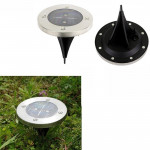 2 PCS IP44 Waterproof Solar Powered Buried Light, 2 LEDs SMD 5050 White Light Under Ground Lamp Outdoor Path Way Garden Decking