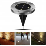 2 PCS IP44 Waterproof Solar Powered Buried Light, 4 LEDs SMD 5050 White Light Under Ground Lamp Outdoor Path Way Garden Decking