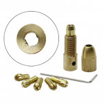 7 PCS/Set Brass 0.5-3mm Small Electric Drill Bit Collet Micro Twist 5.05mm Drill Chuck Set with Wrench