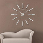 Horloges DIY argent Chambre Home Decor Grand 3D Miroir DIY Wall Sticker Horloge, Taille: 100 * 100 cm - Wewoo