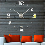 Bedroom Home Decor Frameless Large Number 3D Mirror DIY Wall Sticker Mute Clock, Size: 100*100cm(Silver)