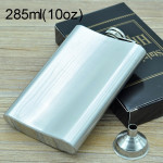 285mL (10oz) Outdoor Sports Handy Home Travel Wild Stainless Steel Portable Hip Flask(with Small Funnel)(Silver 285mL (10oz))